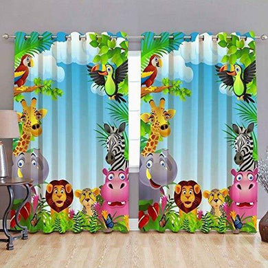 Harshika Home Furnishing Polyester 3D Digital Printed Cartoon Jungle Animal Eyelet Solid Window Curtain for Kids Room (Multicolour) -2 Pieces - Home Decor Lo