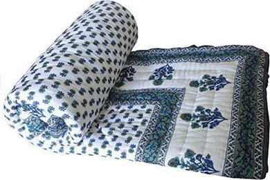 Amer Handicraft Double Bed Size White Jaipuri Cotton AC Quilt Razai Floral Prints for Winters