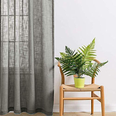 Jvin Fab Linen Textured Open Weave Light Filtering Semi Sheer 54 x 108 Inch Door Treatment Slub Curtains Panels for Living, Bed Room or Anywhere, Set of 2 (9 Feet, Light Grey) - Home Decor Lo