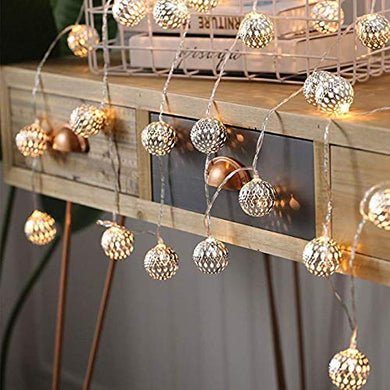 CITRA Led Metal Ball String Light for Home Decoration for Home,Office, Diwali, Eid & Christmas Decoration (Golden Ball Warm White)