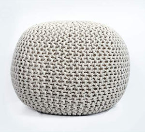 Fernish Decor Cotton Hand Knitted Pouf Ottoman Foot Stool for Bedroom, Living Room, 50x50x35 cm (Natural) - Home Decor Lo