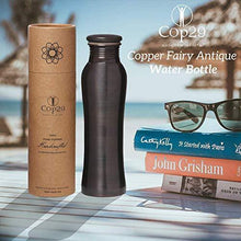 Load image into Gallery viewer, Cop29 Essence of Life - Pure Handmade Antique Finish Fairy Copper Water Bottle with Ayurvedic Health Benefits, 900ml