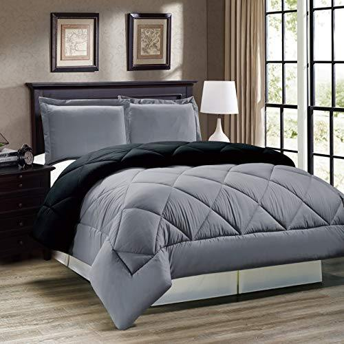 QUILT'N'RAZAI Luxury 250 GSM Reversible Light Weight Single Bed (60*90 inch) Comforter/Quilt/RAZAI/Duvet (Grey/Black)