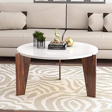 Santosha Décor Wooden Round Centre Coffee Table for Living Room Cocktail Tea Table Furniture for Home (White&Brown) - Home Decor Lo