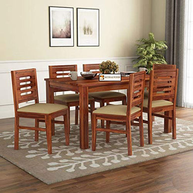 Hariom Handicraft KendalWood Furniture Sheesham Wood Natural Brown Finish 6 Seater Dining Table Set with Chairs and Cushion