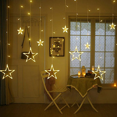 Quace 12 Stars 138 LED Curtain String Lights, Window Curtain Lights with 8 Flashing Modes Decoration for Christmas, Wedding, Party, Home, Patio Lawn, Warm White (138 LED - Star) - Warm White