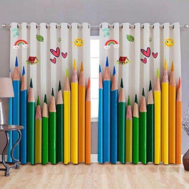 P Home Decor and Designer HD Digital Printed Eyelet 7 Feet Door Curtains for Study & Kids Room Set of 2 - Home Decor Lo
