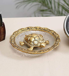 Shoppyana Metal Tortoise with Glass Plate,Tortoise for Good Luck Showpiece Gift Combo - Metal Feng Shui Tortoise Glass Plate,House Warming Gift,Feng Shui Tortoise for Good Luck 14x14x3 cm Golden