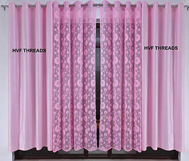 HVF THREADS with Device Polyester Net Planet and Long Crush Pair Plain Curtain for Door 7 Feet, Pink Pack of 4