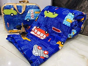 ACHYUTA CREATION Kids Bus Design Print Single Bed Blanket | Dohar | Quilt | Comforter | Duvet Size - [60*100] Colour - Multi
