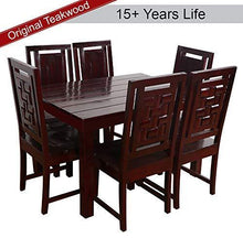 Load image into Gallery viewer, Furny Della Solid Wood (Teak Wood) 6 Seater Dining Table Set- Mohgany Polish - Home Decor Lo