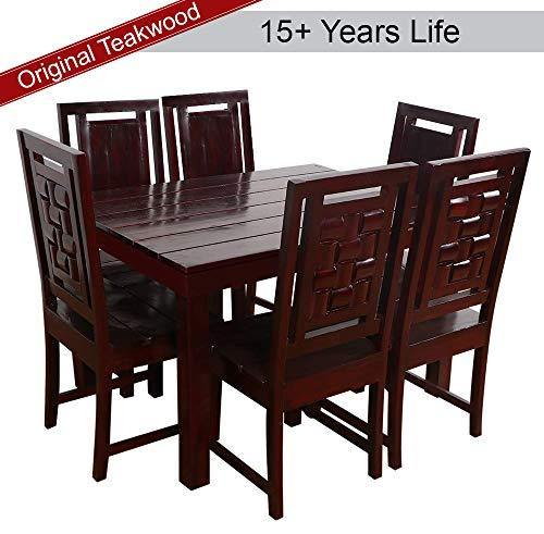 Furny Della Solid Wood (Teak Wood) 6 Seater Dining Table Set- Mohgany Polish - Home Decor Lo
