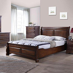 Royaloak Sydney Queen Size Solid Wood Bed (Rubber Wood - Cappuccino) - Home Decor Lo