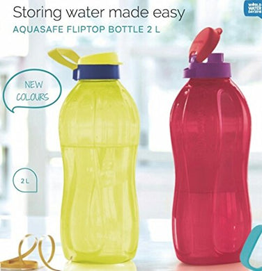 Nexxa Tupperware 2Liter Water Plastic Bottles Fliptop, Set Of 2