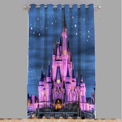 Amazin Homes 3D Digital Printed Knitting Hongkong Disney Land Print Polyester Curtains for Home & Kid's Room(Multicolour, 4 x 7 ft) - Home Decor Lo