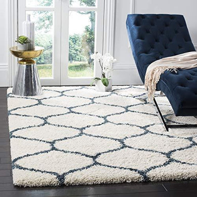 SWEET HOMES Carpet. Ultra Soft Shag Collection Handwoven Anti-Skid, Ogee Plush Area Rug, Size 5x7, feet Color, Ivory/Teal Bluee - Home Decor Lo
