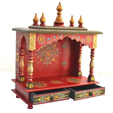 Kamdhenu art and craft Wood Home Temple (18 x 9 x 21 inch, Red and Green)