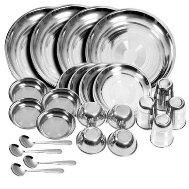 HOMEBUDDY Stainless Steel Dinner Set - 24 Pieces, Silver