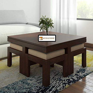 Hariom Handicraft KendalWood Furniture Sheesham Wood Espresso Finish Coffee Table with 4 Stool with Cream Cushion