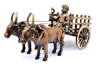 Two Moustaches Brass Vintage Bullock Cart Decor Showpiece | Home Decor |