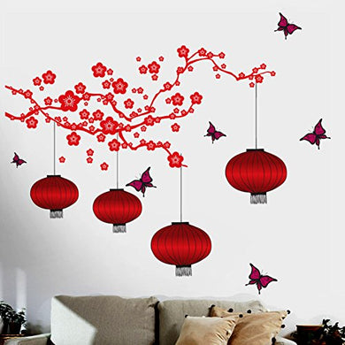 Decals Design 6980 StickersKart Wall Stickers Chinese Lamps in RED Double Sheet (Wall Covering Area: 175cm x 180cm)(Multicolor)