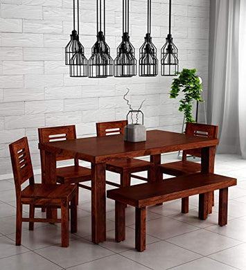 Hariom Handicraft KendalWood Furniture Sheesham Wood Dining Table with 4 Chairs with 1 Bench (Honey Oak) -6 Seater Set