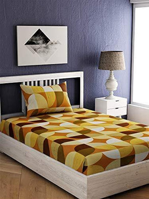EVER HOME Flora Cotton 144 TC Single Bedsheet with 1 Pillow Cover- (152*224) cm (Yellow)
