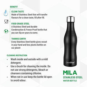 Greenchef Mila Stainless Steel Water Bottle (Black, 1000ml)