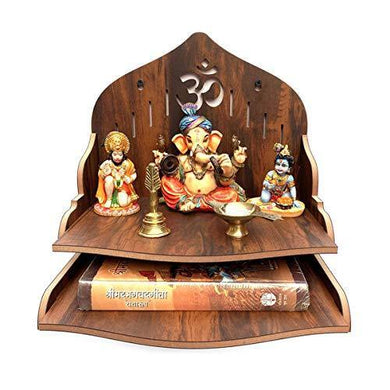 7CR Wood Art and Craft Temple (Brown_29 x 29 x 26.5 cm)