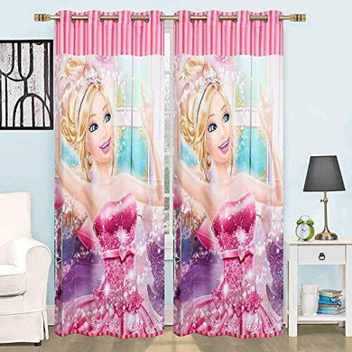 SB INDIA Digital Beautiful Glorious Barbie Doll Print Disney Cinderella Princess Satin Door Curtain for Kids Room Girls Room (4 * 7 feet, Multicolor, Pack of 1) - Home Decor Lo