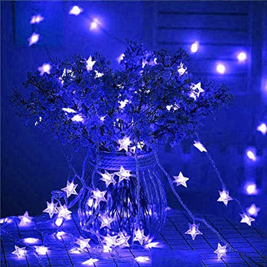 Blue Crystal Star String LED Light for Bedroom Diwali Decoration LED Star Fairy Light for Valentine Day Decoration Home Decor Christmas Diwali Lighting Romantic Mood Light (Blue 8 mtr) Made in India