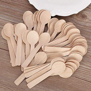 200 Pcs Mini Wooden Spoons 4-inch Length,Disposable Wooden ice Cream Dessert Spoons,Natural Birch Wood Biodegradable Utensils Cutlery.