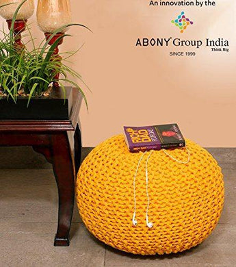 ABONY Cotton Hand Knitted Soft, Comfort Ottoman Pouffe Foot Stool for Bedroom, Living Room (30 x 45 cm, Yellow) - Home Decor Lo