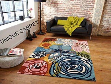 Unique Carpet Handmade Wool & Blend Carpet for Living Room Home Bedroom Hall Kitchen Office Anywhere Color Multi Hand Tufted Carpets (Multi B, 4 x 6) - Home Decor Lo