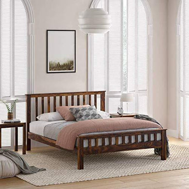 Craftatoz Sheesham Wood King Size Bed Without Storage for Bedroom (Walnut Finish)