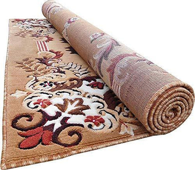 Sweet Homes Acrylic Hand Carved Machine Made Carpet, 5x7 ft (Gold) - Home Decor Lo