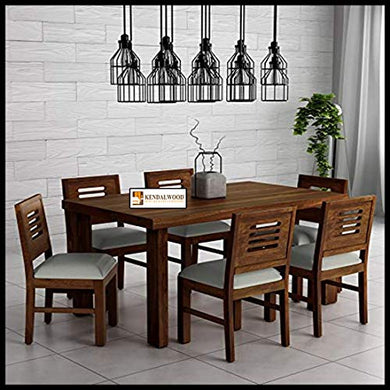 KendalWood Furniture  Sheesham Wood Dining Table(57 * 35) with 6 Chairs | 6 Seater Dining Set | Wooden Dining Table with Chair - Dining Room Furniture (Provincial Teak Finish with Cushion)