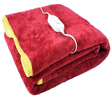 ARTSY HOME Premium 100% Shock Proof and Heating Electric Blanket Single Bed Warmer (MAROON)