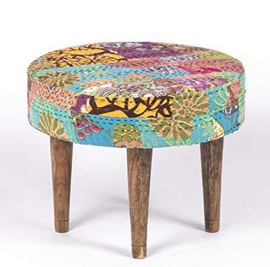 Ikiriya Solid Wood Multicolor Kantha Cushioned Stool - Patchwork Handstitch Kantha; Teak Finish Legs - Home Decor Lo