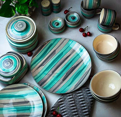 Ceramic Plate Dinner - Stoneware Handmade Plates - 10 Inches - Set of 4, by Mi&Mo, Oceanic Colour