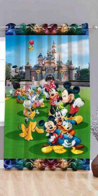 Amazin Homes Digital 3D Printed Curtain for Window 4 x 7 feet Mickey Mouse Design, Teenage & Kids Room - Premium & Modern, Eyelet Polyester Curtain for Home, Knitting, Pack of 1 - Home Decor Lo