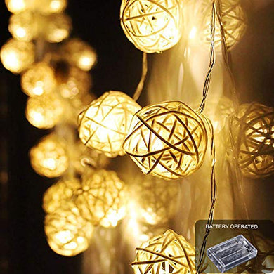 Ascension ® 3.5meters 16 LEDs Globe Rattan Balls String Lights for Home Decoration Festival Decor Lights Indoor Outdoor Decorative Fairy Lights Curtain (Warm White) Battery Powered