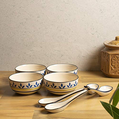 HS HINDUSTANI SAUDAGAR Microwave Hand Painted Ceramic Soup Bowl with Spoon (Multicolour) -Set of 4