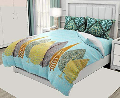Virtual Trade 320TC Premium Fine Cotton Jumbo Leaves Printed Design Bedsheet for Double Bed King Size with 2 Pillow Covers 100X108 Inches (Blue-Pine)