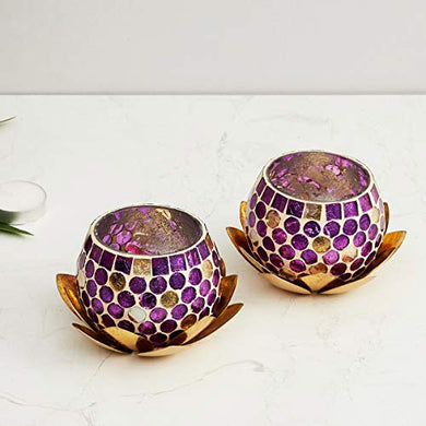 Home Centre Nova Set of 2 Polka-Dot Votive Holder with Lotus
