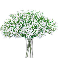 Load image into Gallery viewer, Bomarolan Artificial Baby Breath Flowers Fake Gypsophila Bouquets 12 Pcs Fake Real Touch Flowers for Wedding Decor DIY Home Party(White)