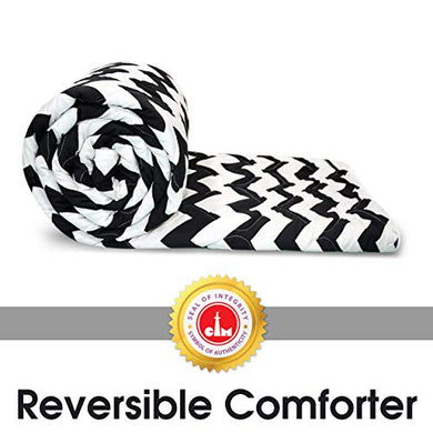 Divine Casa 110 GSM Quilted Duvets Single Bed Comforters Blanket for Winter, Black & White