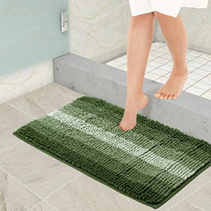 HOKIPO® Anti Slip Machine Washable Bathroom Mat - Mats Made of Microfiber, Super Absorbent, Leaves Feet Warm and Dry, 40 X 60 cm - Green (AR2432-GRN)