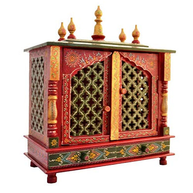 Jaipur Lane Wood Home Temple (Multi_9 Inch X 17.9 Inch X 22 Inch)