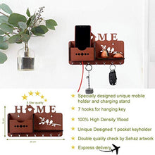 Load image into Gallery viewer, Sehaz Artworks Home Side Shelf Brown KeyHolder Wooden Key Holder (7 Hooks)